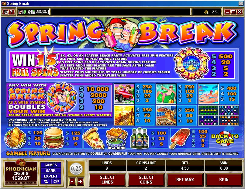 Spring Break Slot Game Paytable